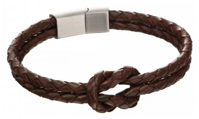 Fred Bennett Mens Double Row Brown Leather Knot Bracelet B5152