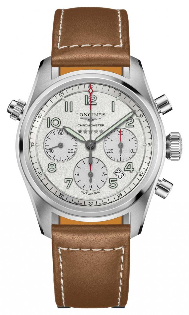 Longines Spirit Automatic Chronograph Silver Dial Brown Strap L38204732