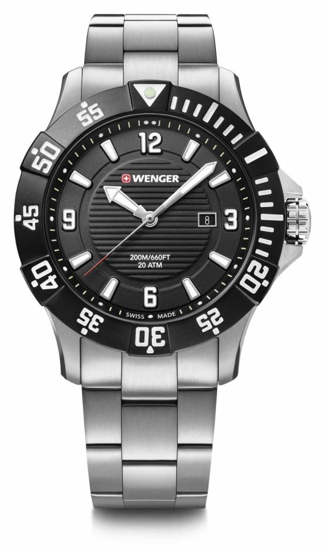 Wenger Seaforce 43mm | Stainless Steel Bracelet | Black Dial 01.0641.131
