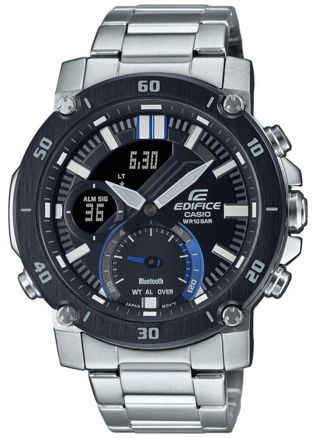 Casio Edifice | Stainless Steel Bracelet | Black/Blue Dial | ECB-20DB-1AEF