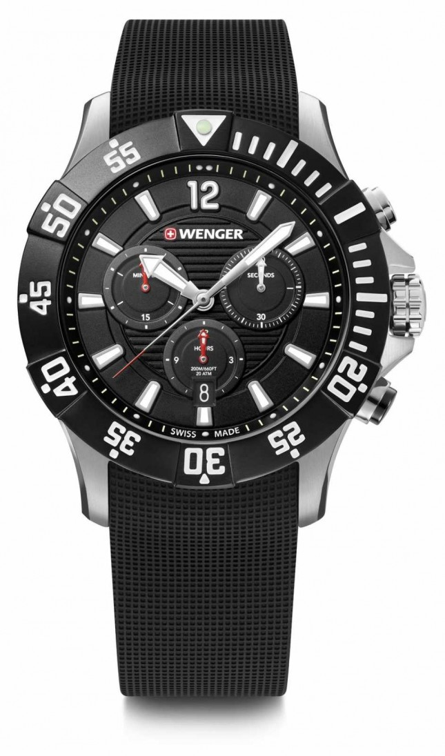 Wenger Seaforce Chrono 43mm | Black Rubber Strap | Black Dial 01.0643.118