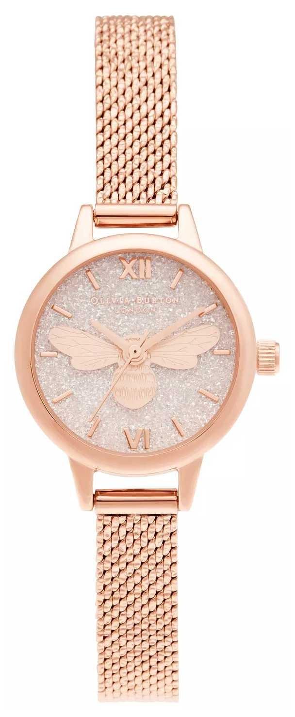 Olivia Burton Lucky Bee Mini Dial Rose Gold Mesh Bracelet OB16FB15