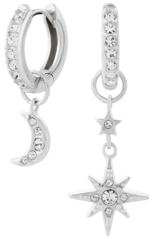 Olivia Burton Celestial Moon & North Star Huggie Hoops Silver OBJCLE38
