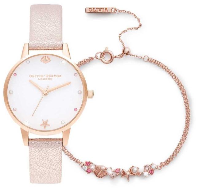 Olivia Burton | Under The Sea | Watch And Bracelet Gift Set | Pink | OBGSET141