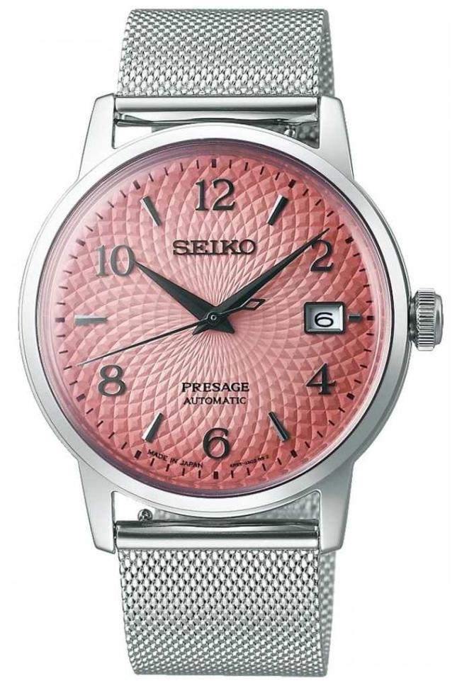 Seiko Limited Edition Presage   Steel Mesh Bracelet   Pink Dial SRPE47J1