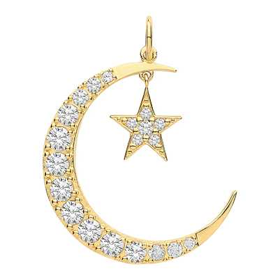 James Moore TH 9ct Yellow Gold  Moon And Star Cubic Zirconia Drop Pendant Only PN1177