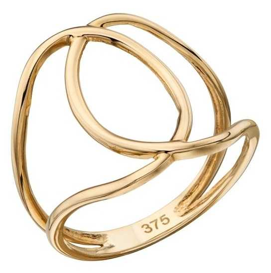 Elements Gold 9ct Yellow Gold Cut Out Interlocking Circle Ring Size EU 52 (UK L 1/2) GR527 52