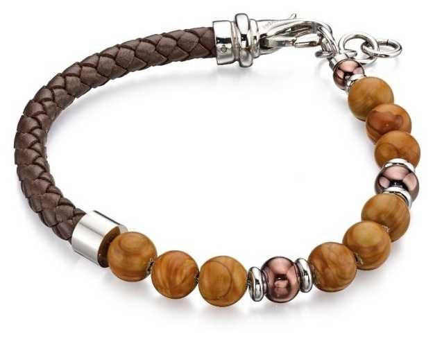 Fred Bennett Blue Lapis Bead Leather Blet Bracelet B4871