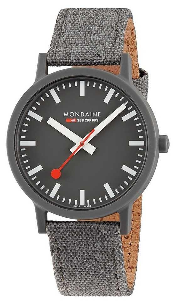 Mondaine Essence 41mm | Dark Grey Textile Strap | Grey Dial MS1.41180.LH