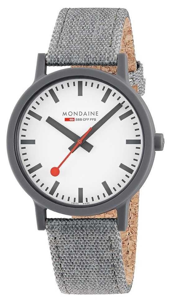 Mondaine Essence 41mm | Dark Grey Textile Strap | White Dial MS1.41110.LU