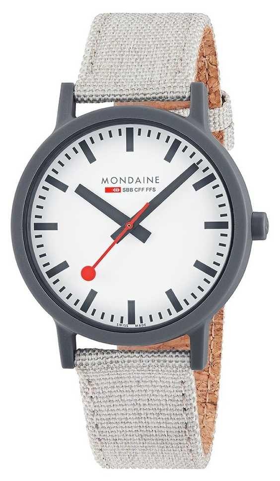 Mondaine Essence 41mm | Light Grey Textile Strap | White Dial MS1.41111.LH
