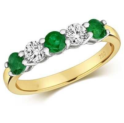 Treasure House 18ct Yellow Gold Emerald And Diamond Claw Set eternity Ring RDQ444E