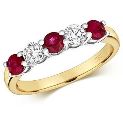 Treasure House 18ct Yellow Gold Ruby And Diamond Claw Set Eternity Ring RDQ444R