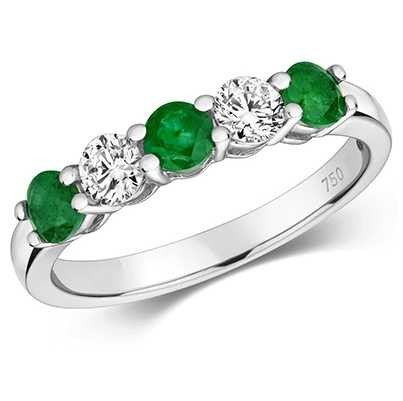 Treasure House 18ct White Gold Emerald And Diamond Claw Set Eternity Ring RDQ444WE