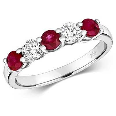 Treasure House 18ct White Gold Diamond And Ruby Claw Set Eternity RDQ444WR