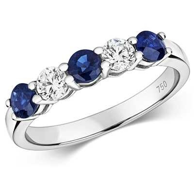 Treasure House 18ct White Gold Diamond And Sapphire Claw Set Eternity Ring Size UK M RDQ444WS