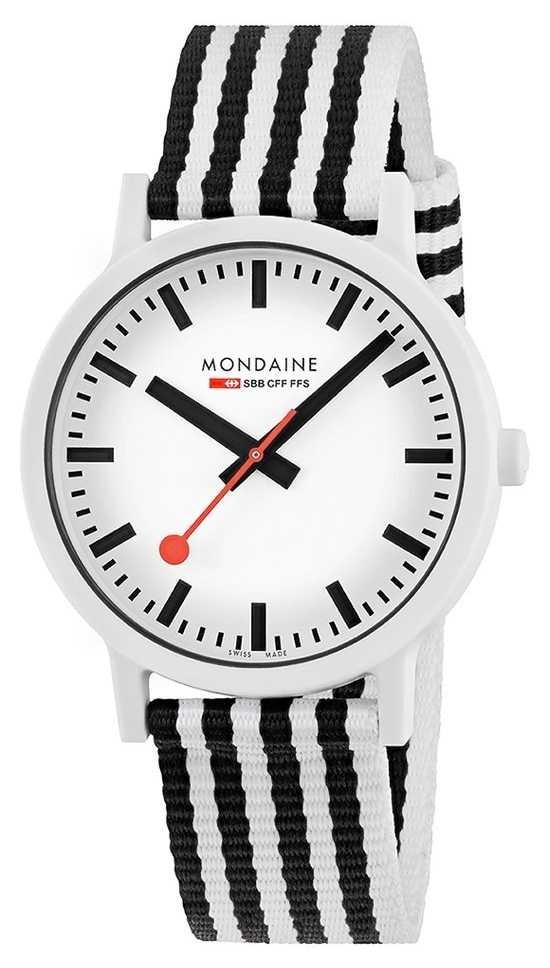 Mondaine Essence 41mm | Black/White Striped PET Strap | White Dial MS1.41110.LA