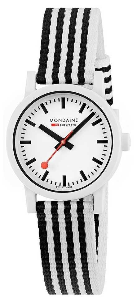 Mondaine Essence 32mm   Black/White PET Striped Strap   White Dial MS1.32110.LA
