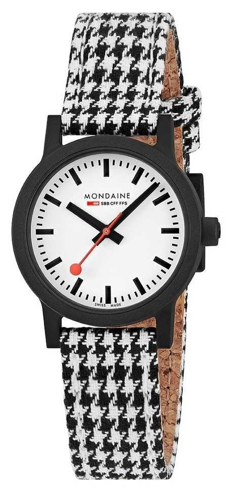 Mondaine Essence 32mm   Black/White Textile Strap   White Dial MS1.32110.LN