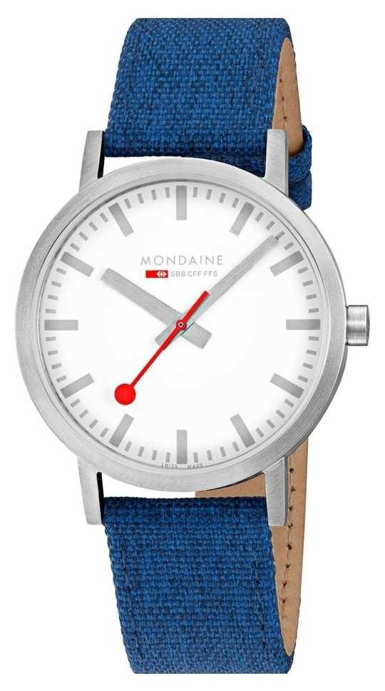 Mondaine Classic 40mm   Navy Blue Textile Strap   White Dial A660.30360.17SBD