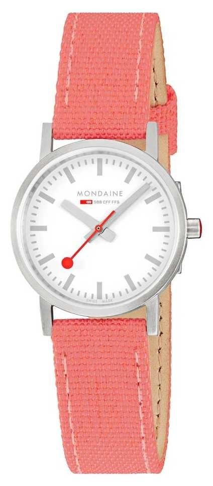 Mondaine Classic 30mm   Coral/Red Textile Strap   White Dial A658.30323.17SBP
