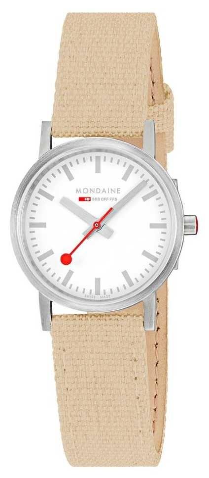 Mondaine Classic 30mm   Beige Textile Strap   White Dial A658.30323.17SBK