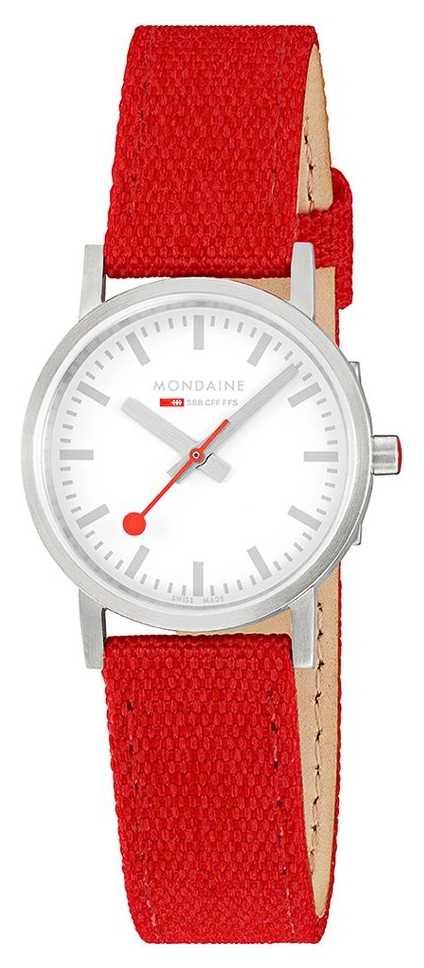 Mondaine Classic 30mm | Raspberry-Red Textile Strap | White Dial A658.30323.17SBC