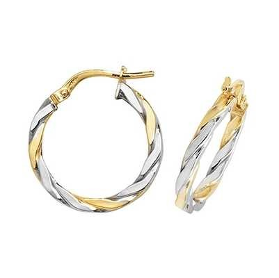 Treasure House 9ct Yellow And White Gold  2 Tone Twist Hoop Earrings ER1041YW-15