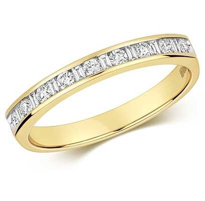James Moore TH 9k Yellow Gold Diamond Half Eternity Ring RD185