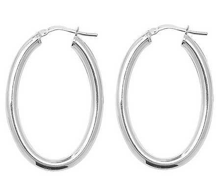 Treasure House Silver Oval Plain Hoop Earrings G5259N