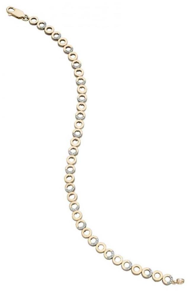 Elements Gold 9k Yellow Gold Diamond Mini circular Bracelet GB454