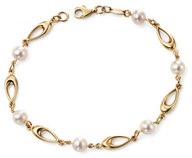 Elements Gold 9k Yellow Gold Freshwater Pearl Link Bracelet GB416W