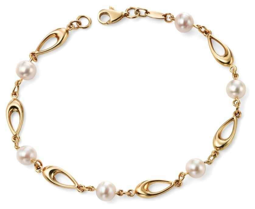 Elements Gold 9k Yellow Gold Freshwater Pearl Link Bracelet GB416W