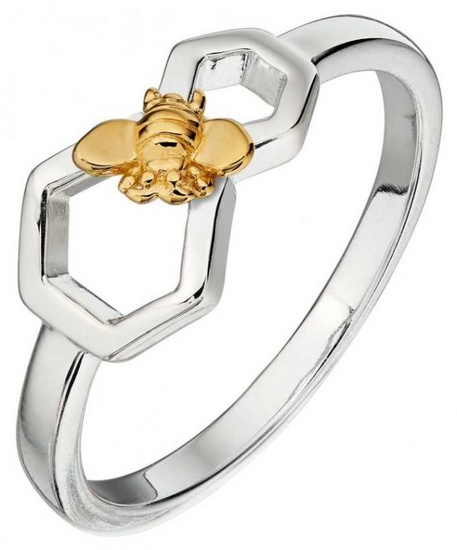 Elements Silver Silver Gold Plated Bee Honeycomb Ring R3673