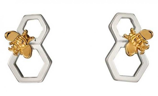 Elements Silver Silver Gold Plate Bee Honeycomb Stud Earrings E5676