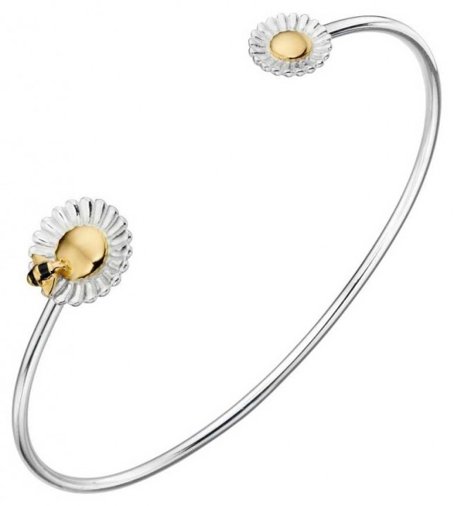 Elements Silver Silver / Gold Plated Bee Daisy Bangle B5220
