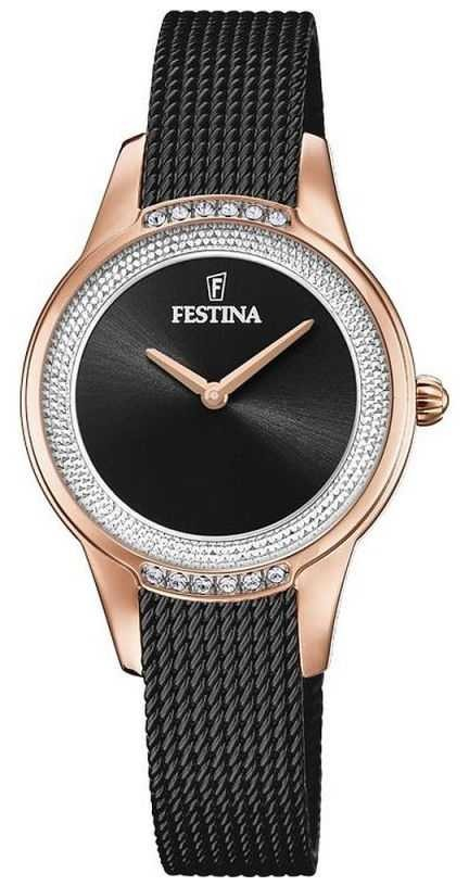 Festina Women's Black Steel Mesh Bracelet   Black Crystal Set Dial F20496/2