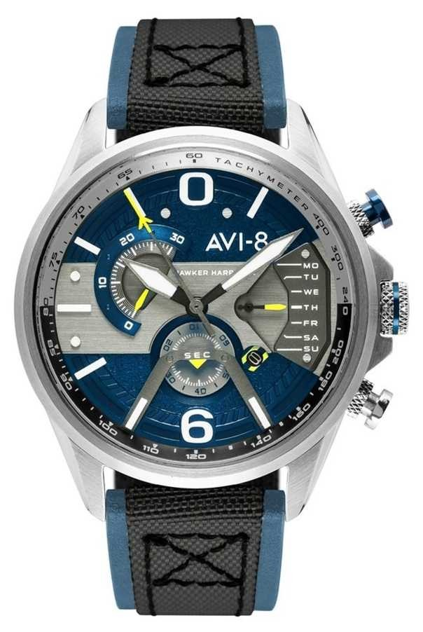 AVI-8 HAWKER HARRIER II | Chronograph | Blue Dial | Blue Leather Black Nato Strap AV-4056-01