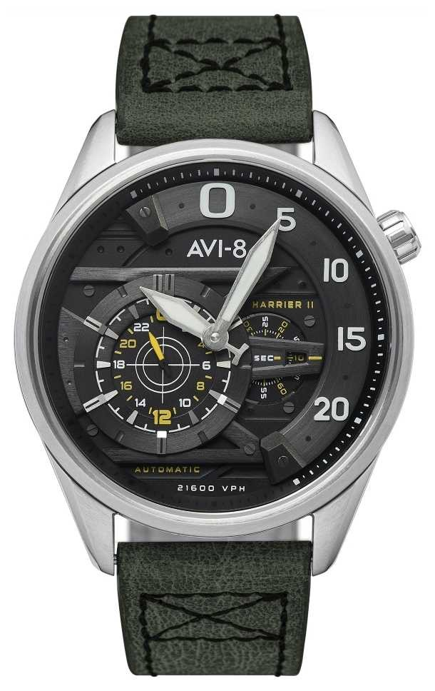 AVI-8 HAWKER HARRIER II – Ace Of Spades | Automatic | Green Leather Strap AV-4070-01