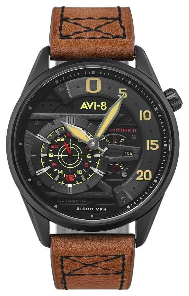 AVI-8 HAWKER HARRIER II – Ace Of Spades | Automatic | Brown Leather Strap AV-4070-04