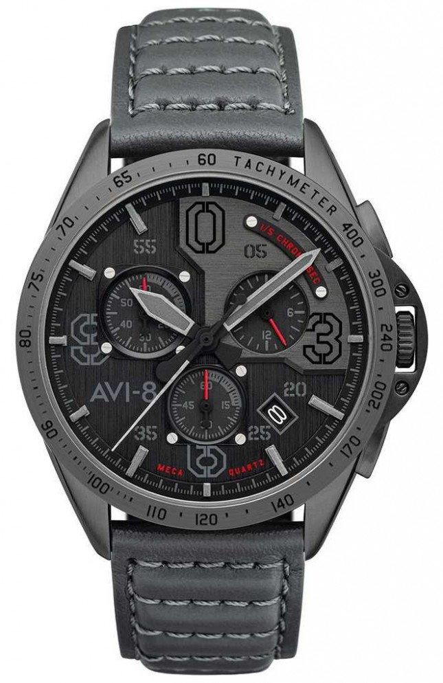 AVI-8 P-51 MUSTANG | Chronograph | Grey Dial | Grey Leather Strap AV-4077-03