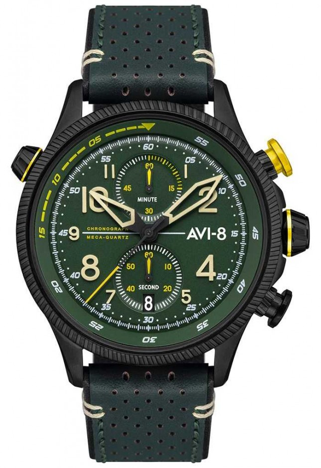 AVI-8 HAWKER HUNTER | Chronograph | Green Dial | Green Leather Strap AV-4080-03