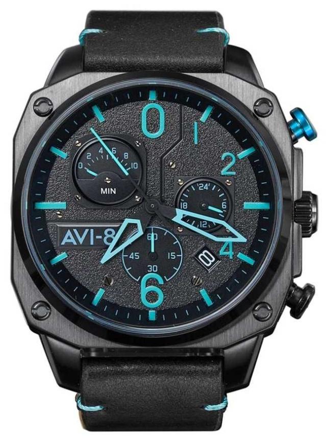 AVI-8 HAWKER HUNTER | Chronograph | Black Leather Strap AV-4052-05