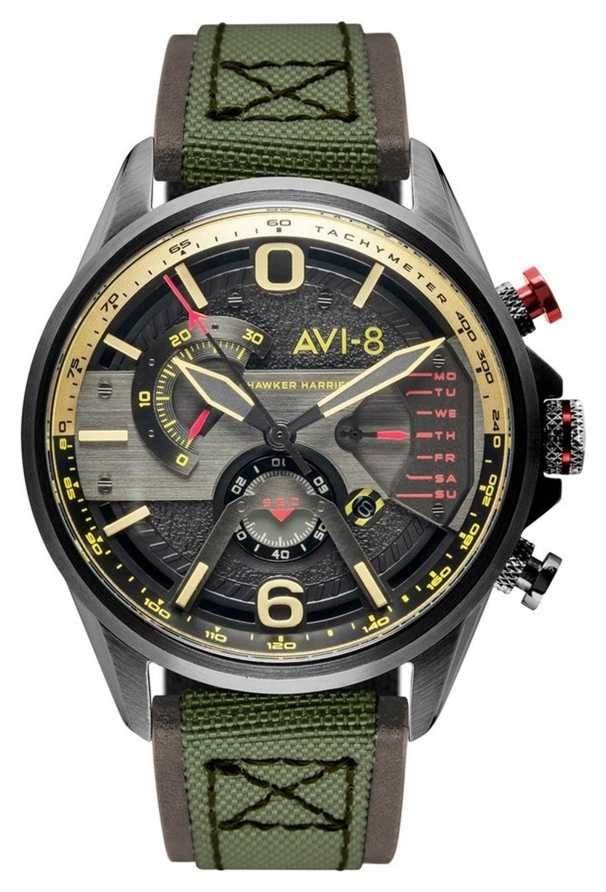AVI-8 HAWKER HARRIER II | Chronograph | Grey Dial | Brown Leather Green Nato Strap AV-4056-03