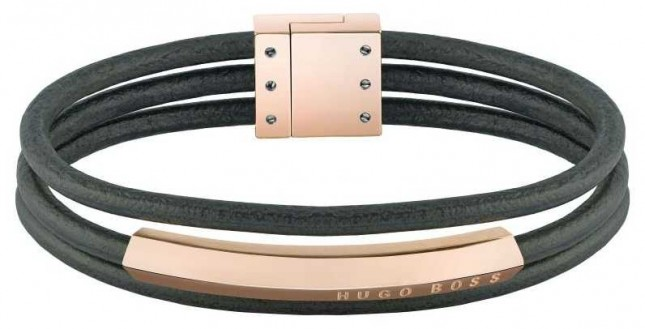 BOSS Jewellery Womens Insignia | Grey Leather | Rose Gold PVD Steel | Bracelet 1580021M