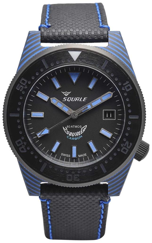 Squale Carbon Style | Black/Blue Dial | Black Microfiber Strap – Blue Stitching T183BL-CINT183BL