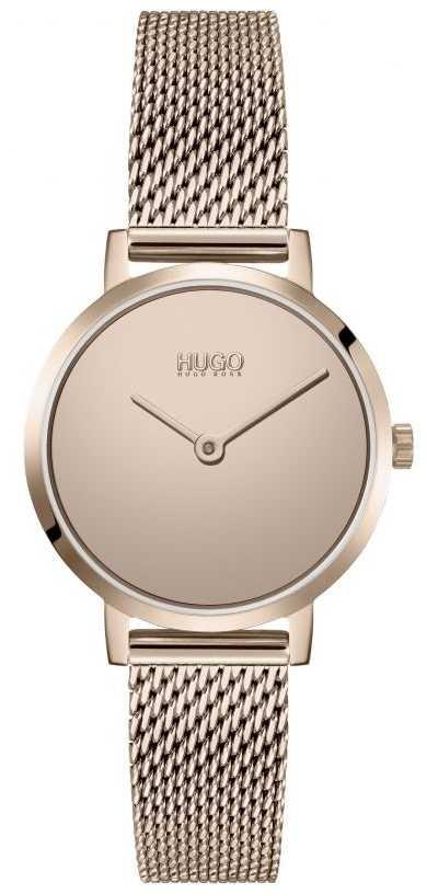 HUGO #CHERISH   Rose Gold PVD Mesh Bracelet   Gold Dial 1540085