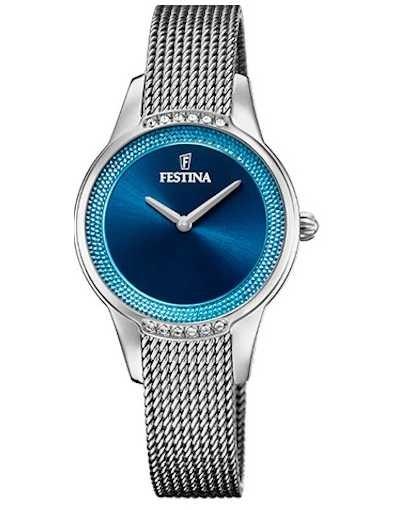 Festina Women's Ceramic   Two-Tone Steel/Ceramic Bracelet   Blue Dial F20494/2
