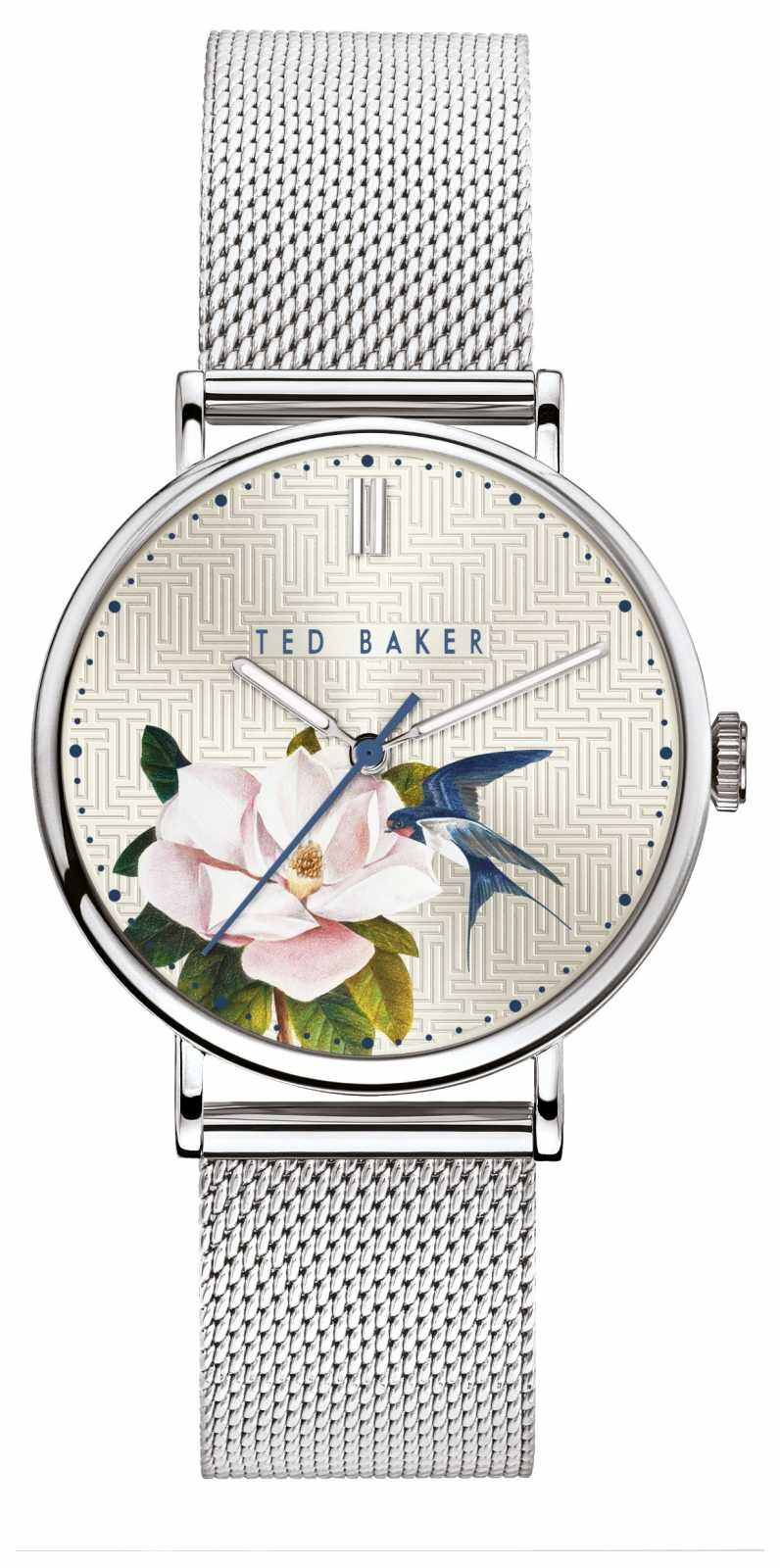 Ted Baker   Women's   Phylipa Flowers   Silver Mesh   Silver Floral Dial   BKPPFF902