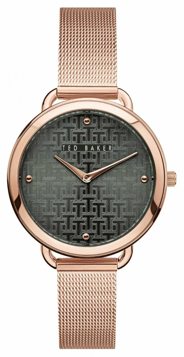 Ted Baker | Women's | Hettie | Rose Gold Mesh Bracelet | Black Pattern Dial | BKPHTF912